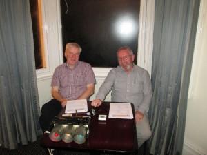 Kieran Connolly & John Sherlock keeping time at a speech contest.