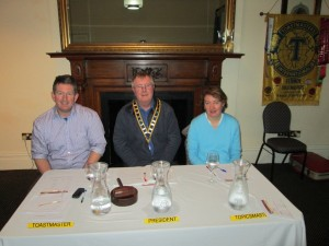 The Top Table pictured at the first club meeting of the New Year 2014
