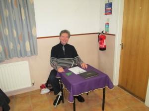 Kevin Walsh as greeter at the bridge club meeting