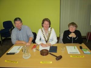 Club President Mary Mary Whelan, Toastmaster on the night Johanna Hegarty and Topics master Frank O'Driscoll.