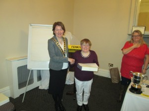 Club President Mary Whelan Congratulates Johanna Hegarty as Alternate winner of the Evaluation Contest  on March 10th 2015. Contest Chairperson Maire Corbett is Standing on the right