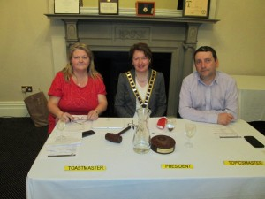 """""""The Top Table"""" Club President Mary Whelan, Contest Toastmaster Maire Corbett and Topicsmaster Fanahan Colbert at the 2015 Speech and Evaluation Contest"""