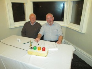 Keeping time at the contest:- Timekeepers Eddie O'Sullivan and John Sherlock at the 2015 Club Speech and Evaluation Contest.