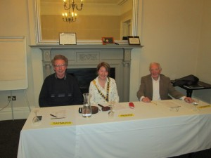 The Top Table:-  President, Mary Whelan with Toastmaster David Walsh (left) and Topicsmaster, John Quirke at the Fermoy Toastmasters meeting in the Grand Hotel, Tuesday, April 7th