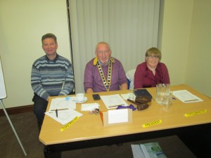 Club President John Sherlock with Toastmaster of the evening, Kevin Walsh (left) and Topicsmaster, Johanna Hegarty at the inaugural meeting of the 2015-16 season on September 8th 2015 in the Fermoy Youth Centre.