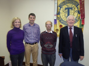 Table topics contestants Michelle O'Brien, Padraig Murphy, Michael Sheehan and john Kelly.