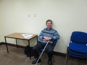 Club Greeter, Kevin Walsh, relaxes after making everyone feel welcome at the meeting of November 3rd 2015.