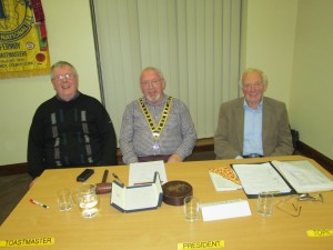 Three Of Our Very Finest:- Club President John Sherlock (centre); Jerry Hennessy, Toastmaster and John Quirke (the Father Of The House as well as one of the very longest serving Toastmasters in Ireland and Britain since 1978), all pictured at the Club meeting on November 3rd 2015 in the Fermoy Youth Centre. Three nicer and better fellows you could not meet anywhere.