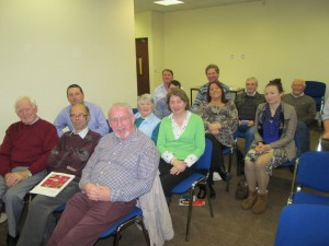 More Members and Friends pictured at the November 3rd 2015 meeting:- (Front row, from left: John Kelly, Michael Sheehan and John Sherlock; next, from left, Fanahan Colbert, Mairead Barry and Mary Whelan, former President; next row, from left, Padraig Murphy (obscured), Paula Doran (who made her Icebreaker speech that night) and Helsa Giles; back row, from left:- new member Tim Fitzgerald, Kevin Walsh, Con Fitzgerald and Eddie O'Sullivan.