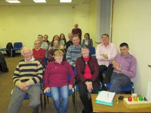 Some of the attendance in relaxed and jovial mood after the November 17th meeting. As can be seen, our room in the Fermoy Youth Centre is brightly-lit, spacious and very comfortable, as well as being accessible without the climbing of stairs. Moreover the Fermoy Youth Centre staff are most helpful to us and place a lovely spread of light refresments and heartwarming teas and coffees before us every evening. A congenial venue makes for enhanced and very pleasant gatherings.