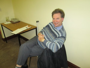 Kevin Walsh relaxes after greeting everyone at the recent Club Speech Contest