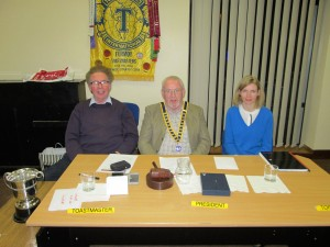 The Top Table:- Club President John Sherlock (centre), with Toastmaster of the Evening, David Walsh (left) and Topicsmaster, Michelle O'Brien, relaxed and happy after the 2016 successful Club Speech & Evaluations Contest.