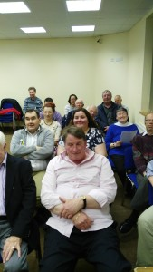 Members of Fermoy Toastmasters as well as visitors and guests at the Club Meeting of May 3rd 2016 in the Fermoy Youth Centre. As one can see the room is well-lit and amply spacious, as well having great ease of access without any stairs to climb. A pleasant and relaxing for a warm and welcoming club of good friends.