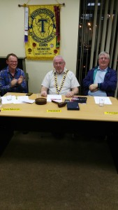 Club President John Sherlock presides over the Annual General Meeting of Fermoy Toastmasters held on May 24th 2016. The meeting was chaired by Michael Cronin, Mallow Club (left), while Jerry Hennessy (right) was topicsmaster.