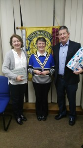 'Eilish Ui Bhriain, Club President, pictured with Frank O'Driscoll and Mary Whelan, Winner and Runner Up respectively in the Autumn 2016 Humorous Club Speech Contest'.