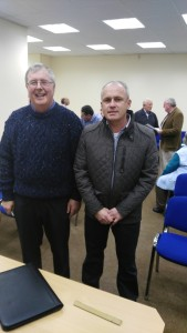 Jerry Hennessy (left), former Club President, dedicated member and cherished friend of all, pictured at the October 11th Annual Club Humorous Speech and Topics Contest with Kevin O'Neil, one of of our recently-joined members who assumed the role of Educational Vice-President or Meeting Organiser for the 2016-17 Season, displaying all of his great energies and talents to brilliant effect.