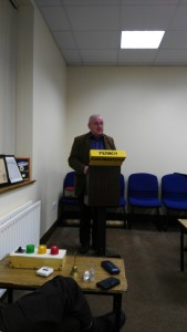 John Sherlock delivering an Evaluation at the Fermoy Toastmasters lectern on November 22nd 2016