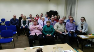 Another view of our gathering of December 6th 2016. On the extreme right of front row is Visiting Toastmaster Michael Cronin from Mallow. President Eilish Ui Bhriain wearing the chain of office inscribed with the names of all of her revered predecessors going right back to 1970 has left the top table to take her place in the centre of the room symbolising that the role of club leadership whether in Fermoy or in any club throughout the world is one of being first among equals. Every member is of equal value, respect and standing and the door wide open for each and everyone to achieve excellence. Together we build each other and mutually enhance our enjoyment that leads to personal growth and fulfillment.