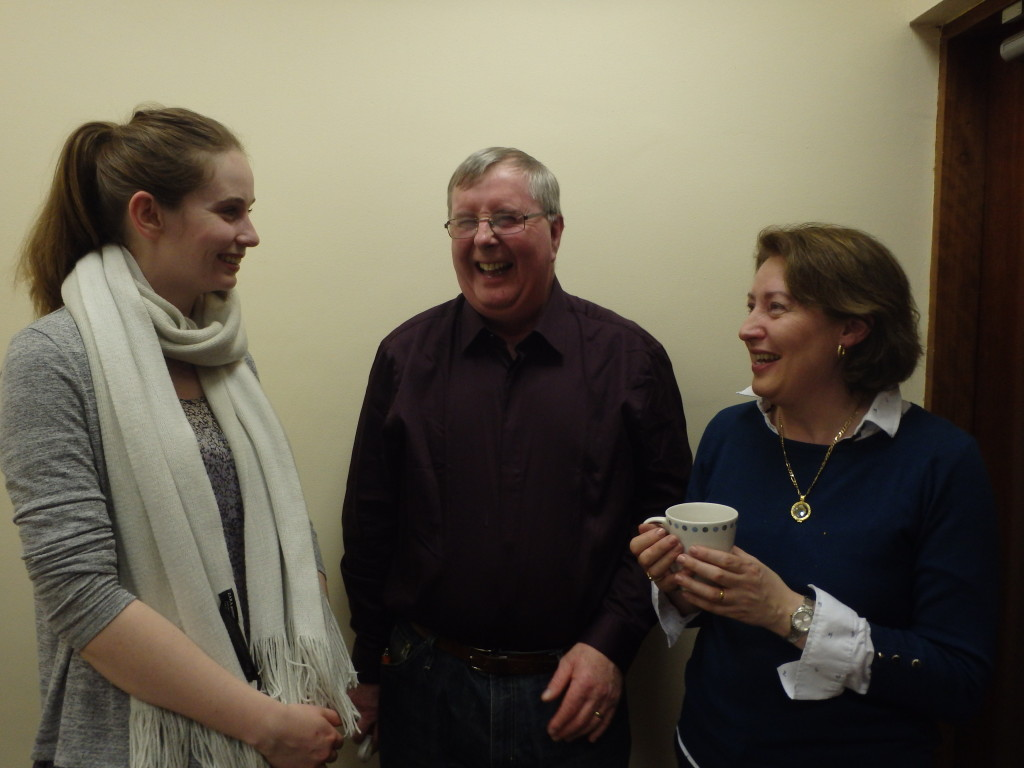 Claire Guy (left) enjoying a chat with Jerry Hennessy and Mary Whelan,