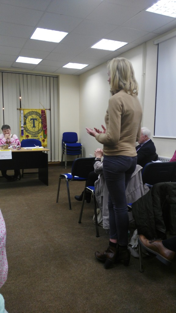 Michelle O'Brien pictured contributing to the topics session at the April 11th meeting. Listening carefully is Club President Eilish Ui Bhriain.