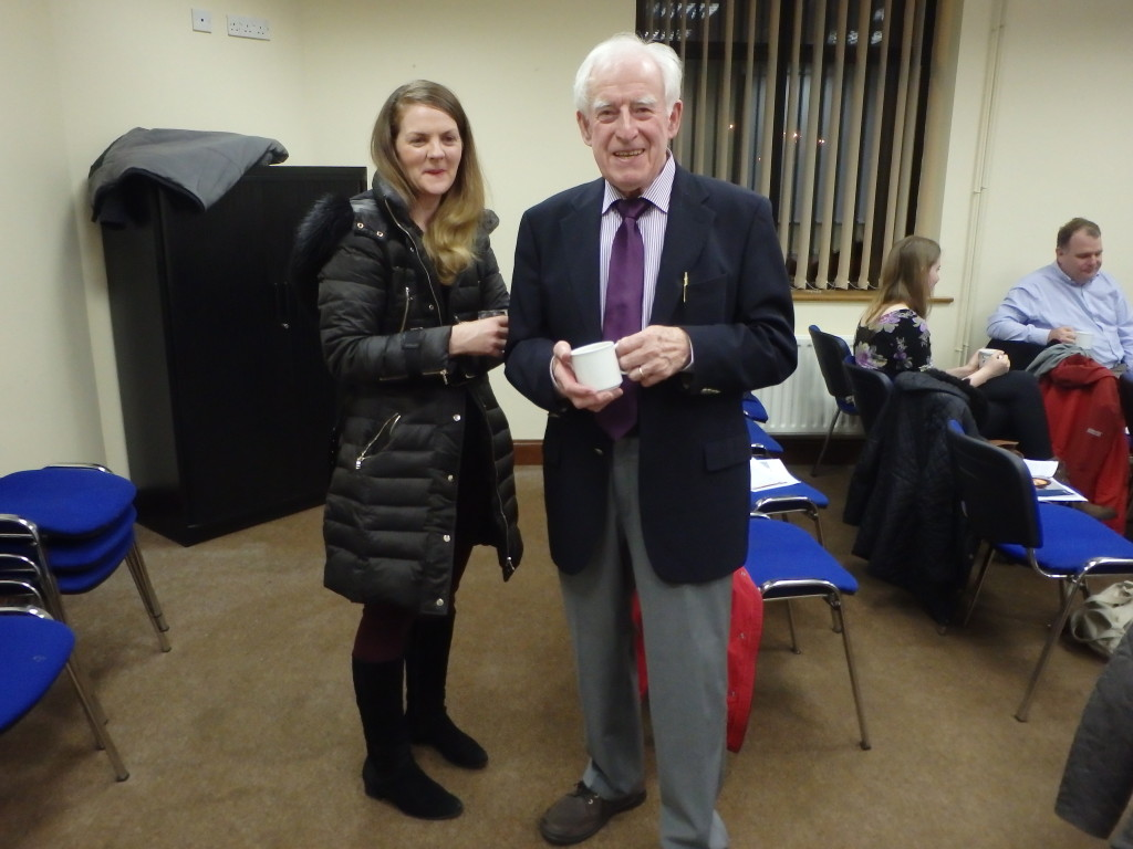 John Kelly is also one of our most illustrious members whose contribution to Fermoy Toastmasters has been immense over so many years, a contribution which he continues to adorn as on this night when at very short notice he was called upon to act as Toastmaster or chairman of the proceedings, guiding us through a memorably pleasant and enjoyable evening. He is pictured here with one of our newest members Rina Keating who has already established herself as one of our most active, keen and enthusiastic participants.