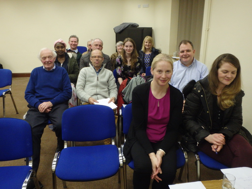 Some of the attendance at the March 28th meeting in the Fermoy Youth Centre, including in front row Marie McAree (left), her husband Conor (centre) and Nina Keating, acting as Timekeeper. All three have joined us in recent months and we warmly welcome and look forward to their participation, support and friendship. Everyone has a unique and invaluable contribution to make to our club.