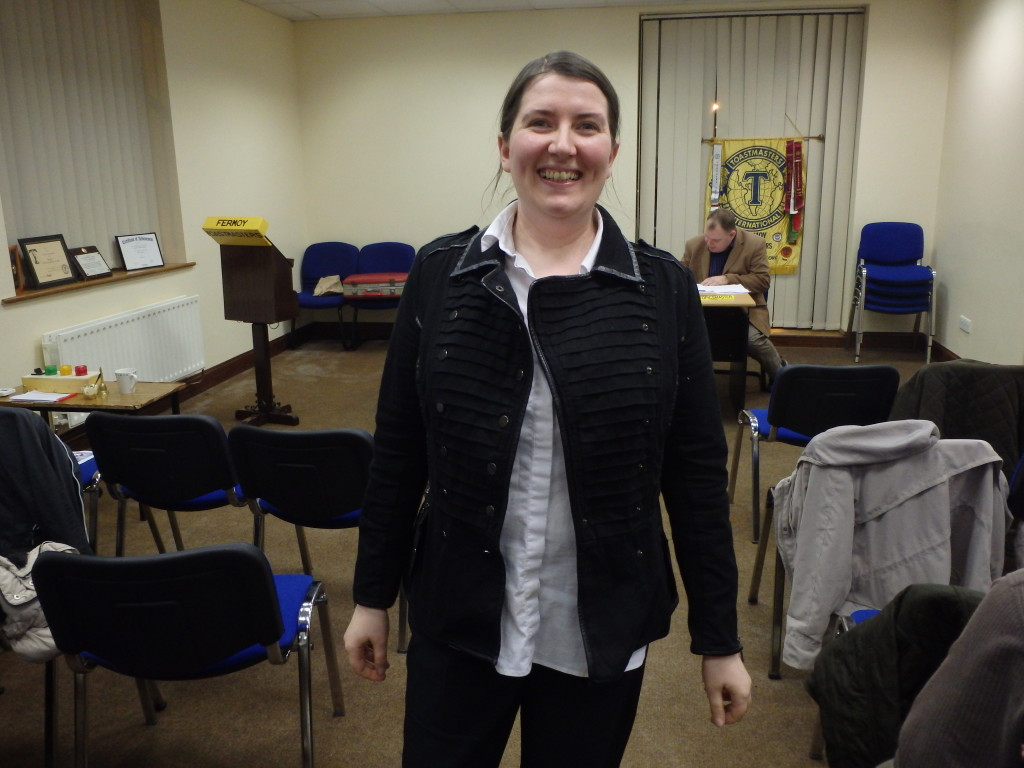 .Patricia O'Connell of Mallow Toastmasters relaxes after giving her comic After Dinner speech to the club meeting on April 11th 2017. The empty seats in the background reveal that all have gone for their trifles and teas, but there was plenty for Patricia and for everyone to enjoy!
