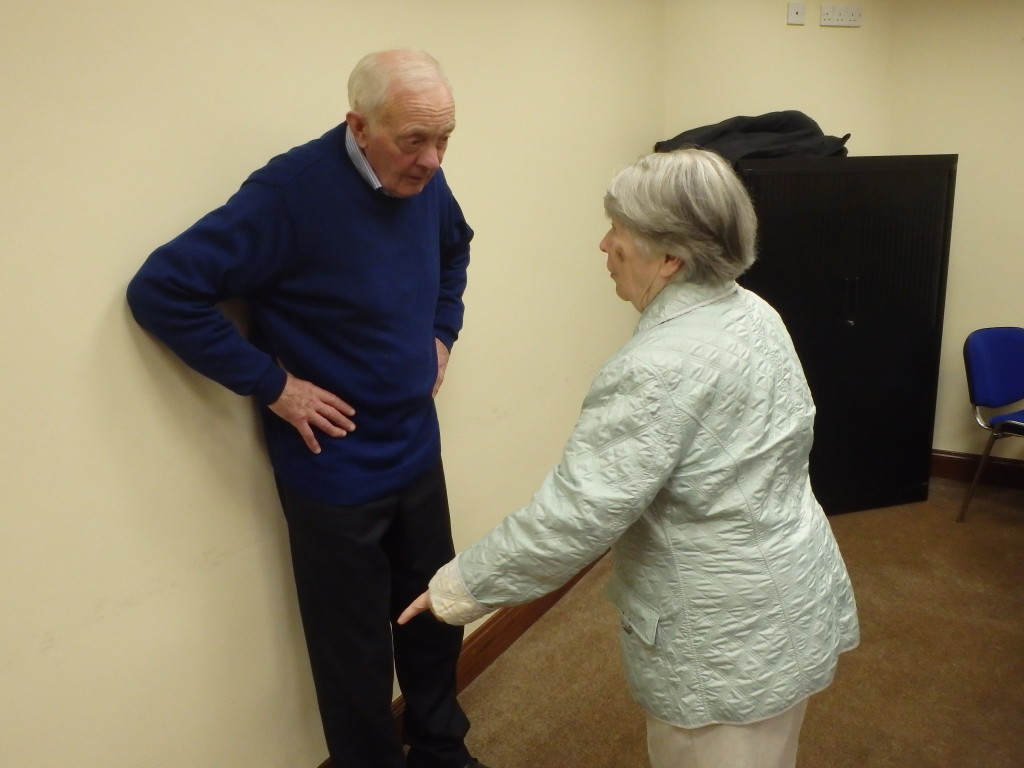 John Quirke and Mairead Barry share a convivial chat just before the meeting resumes after tea/ coffee and light refreshments have been enjoyed.