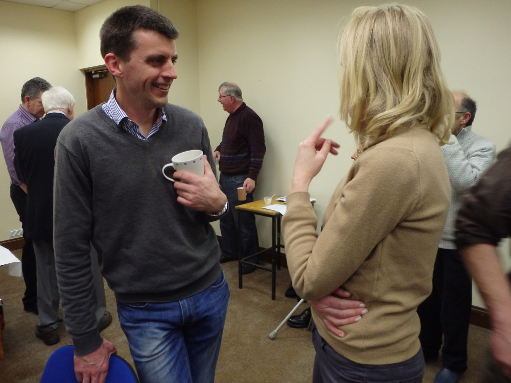 The tea break affords members and visitors an opportunity to relax and enjoy each other's company with each other, one of the most pleasant and enjoyable interludes of every club meeting. Pictured here Padraig Murphy and Michelle O'Brien share a few moments of cordial chat during the tea break at the April 11th 2017 meeting.