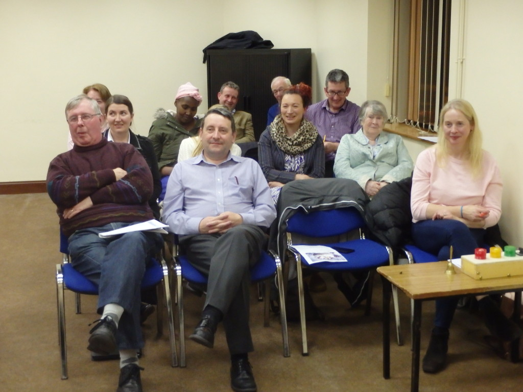 A view of some of the members attending the April 11th 2017 meeting at the Fermoy Youth Centre. To the extreme right of picture in the front row is Marie MacAree, wife of Conor, who was also making her debut that night as Timekeeper which she carried through with notable precision and success.