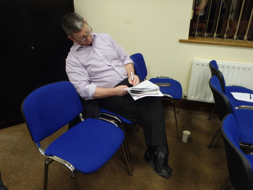 Frank O'Driscoll carefully prepares his Evaluation of Padraig Murphy's speech at the meeting of April 25th 2017. Evaluation takes time and thought, assessing the speaker's performance with all due praise for what has been achieved and offering constructive suggestions for future improvement. We all learn from each other and become better in every way through the interchange of wisdom, experience and ideas in friendship and mutual goodwill.