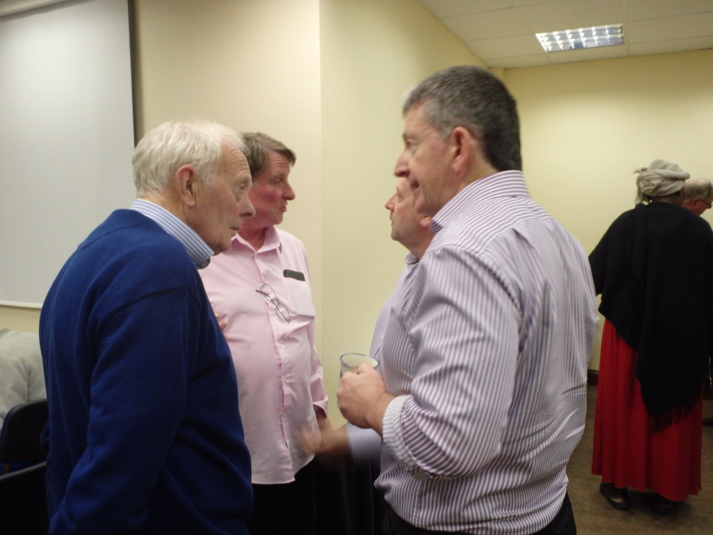 Frank O'Driscoll (left) shares a cordial word at the midpoint tea-break with John Quirke, the Father of the House and longest serving member of our club and apparently indeed of Toastmasters in Ireland with an unbroken record of almost half a century of continuous membership and participation stretching back to 1978.
